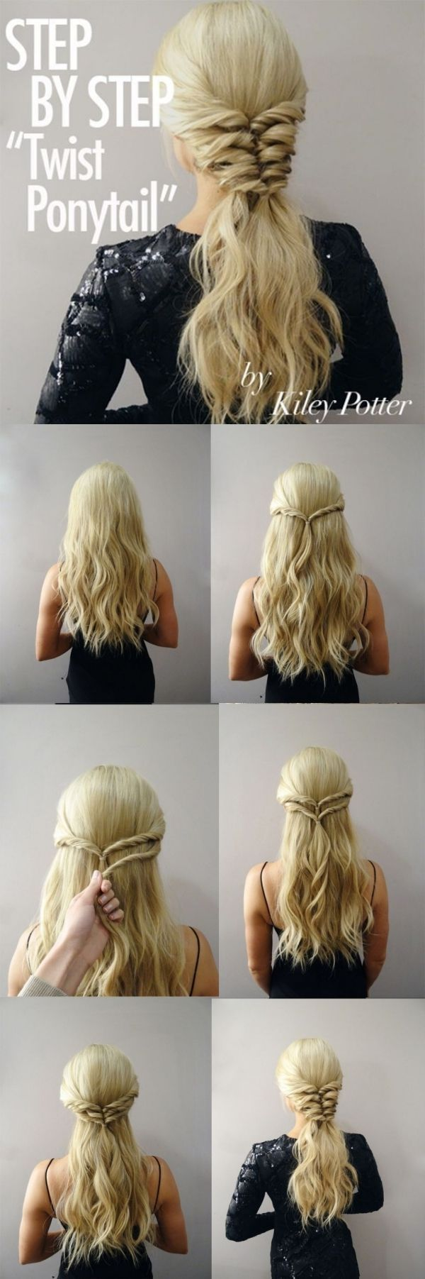 Step by step twist ponytail by kiley potter step by step