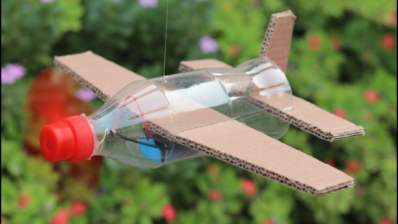 How To Make Flying Airplane Using Cardboard And Coke Bottle Airplane Kids Coke Bottle Crafts Airplane Crafts