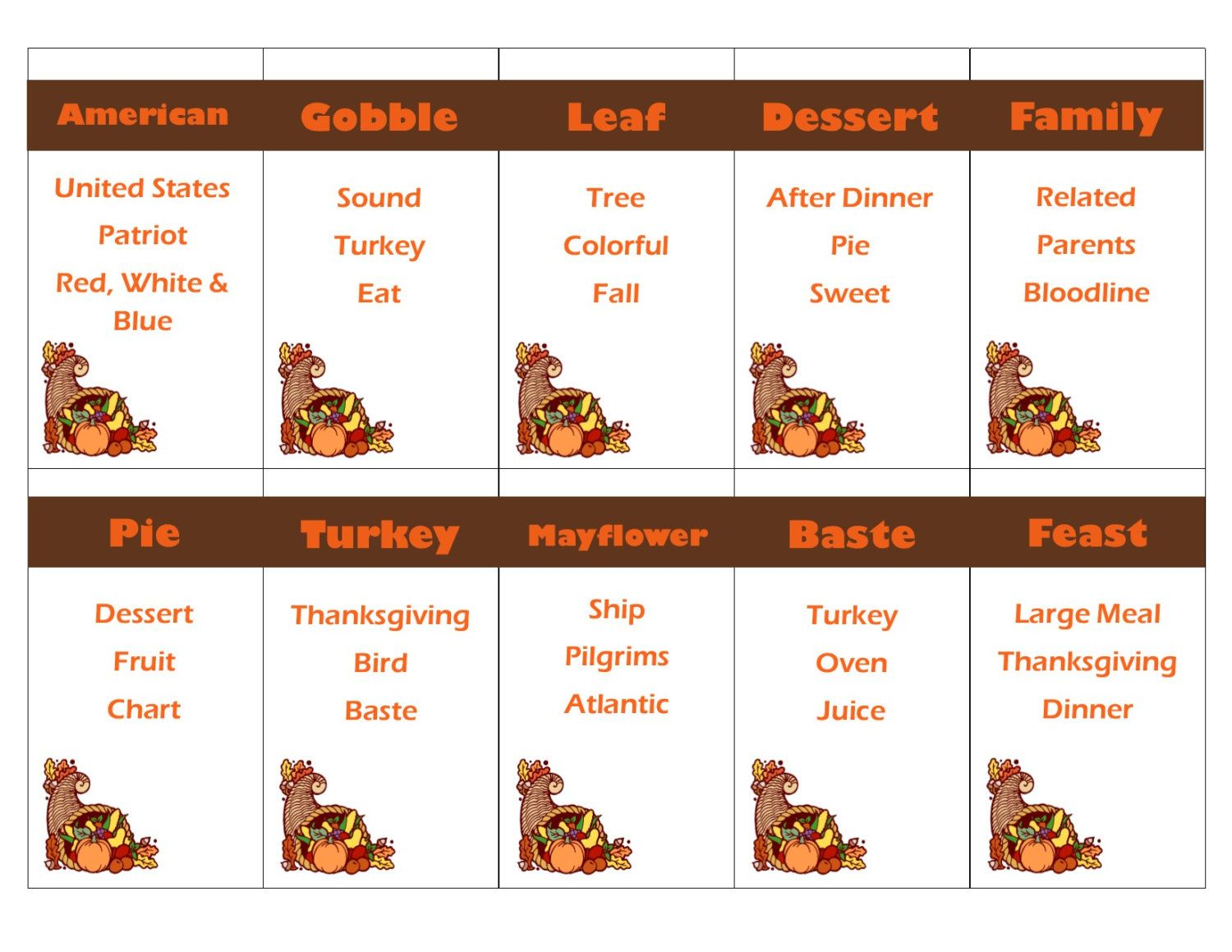 Printable Thanksgiving Game
