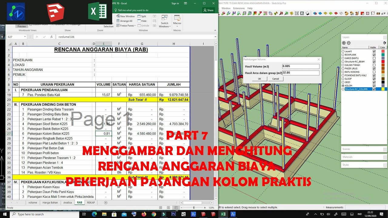Part 7 Menggambar Dan Menghitung Rencana Anggaran Biaya Pekerjaan Kolom Gambar Desain Arsitek