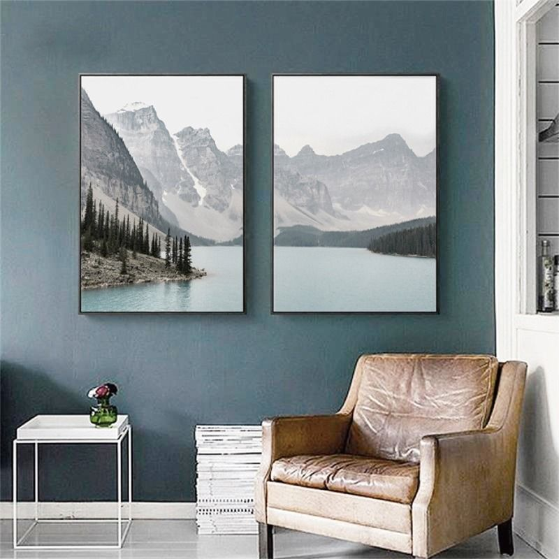 Nordic Landscape Mountain Lake Canvas Paintings Home Decoration