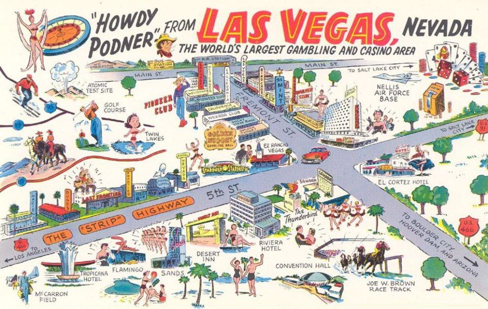 Pretty Cool Late 1950 S Postcard Las Vegas Map Vegas Maps Old Vegas