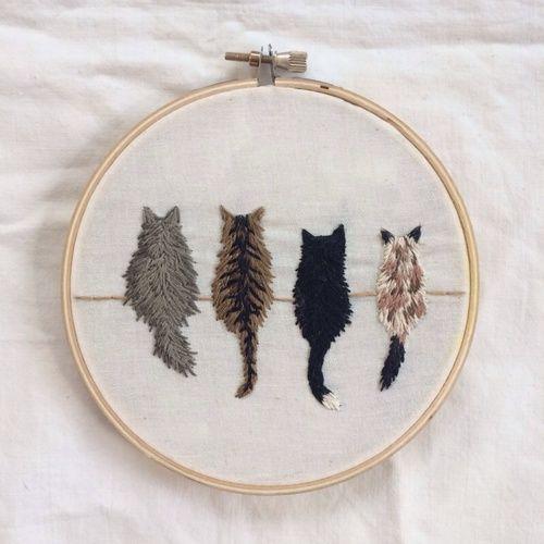Imagem de cat, art, and embroidery, decoração, bordado