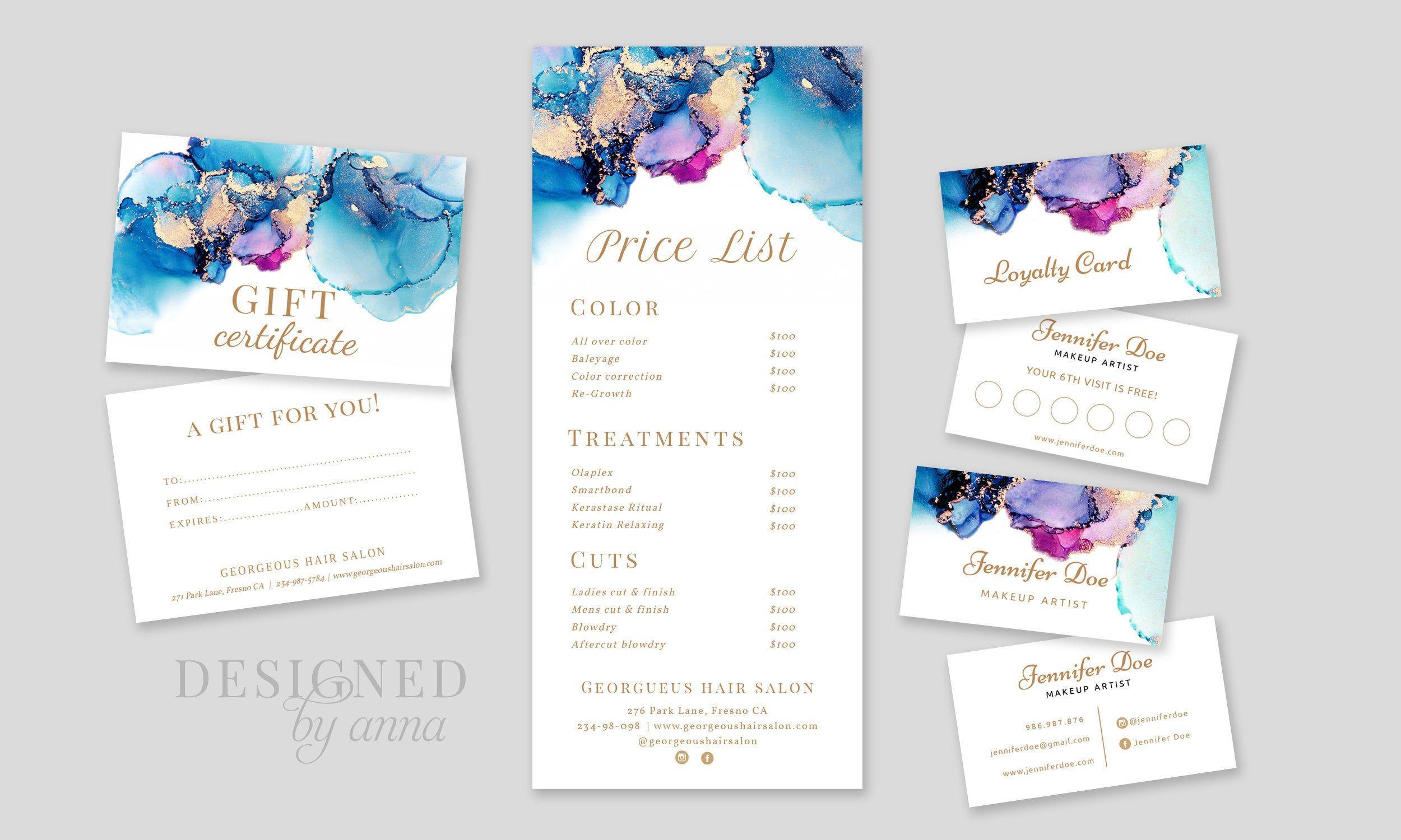 Blue watercolor business card design printable lash