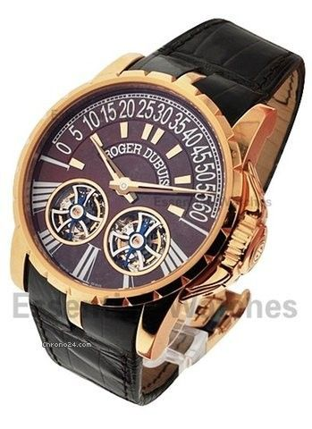 Roger Dubuis Excalibur Double Tourbillon - Rose Gold on Strap with Brown Dial