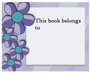 This printable bookplate, with pretty purple flowers, is used to identify the owner of a book. Free to download and print