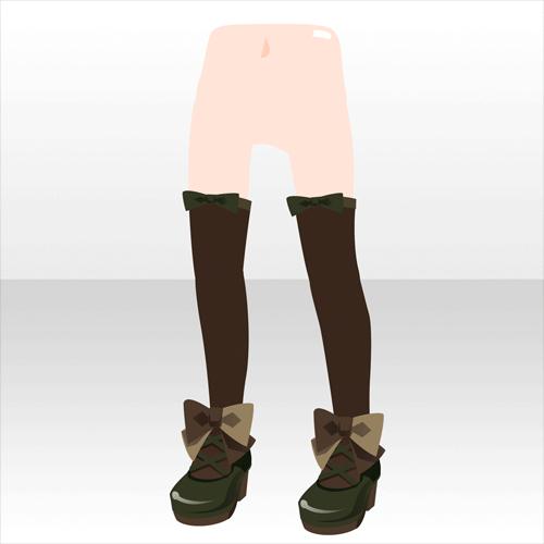 アクセサリ/靴系 少女のリボンパンプス グリーン