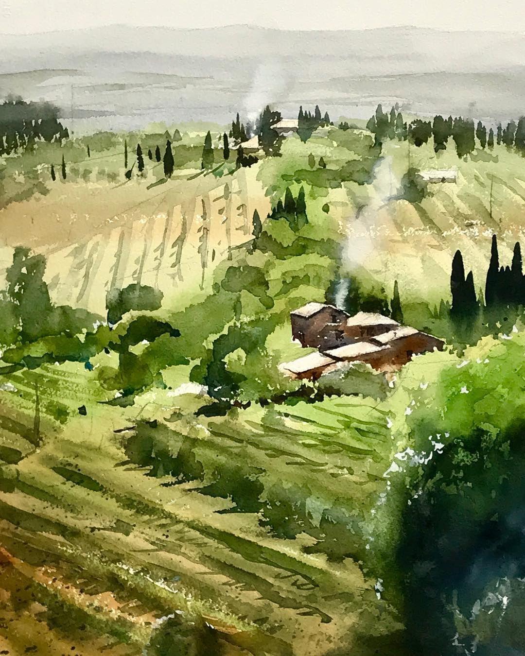 Agriturismo Ii In San Gimignano N 1hour Aquarelle Acuarela