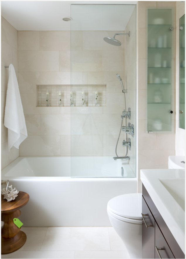Note the storage in the wall to the right of the shower! I DON\'T ...