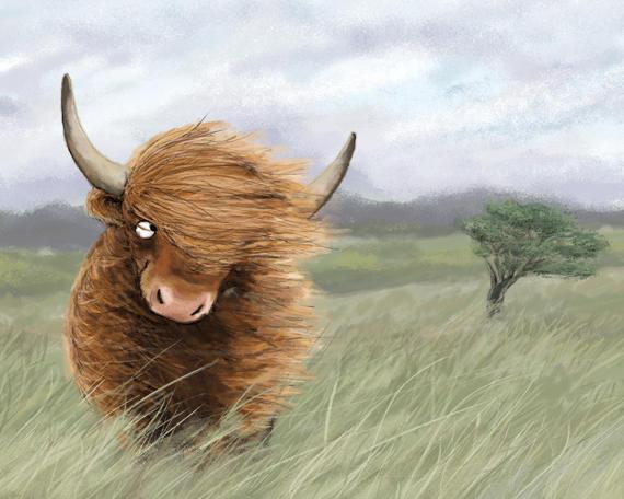 Scottish Highland Cow Art Print Highland Cattle Painting