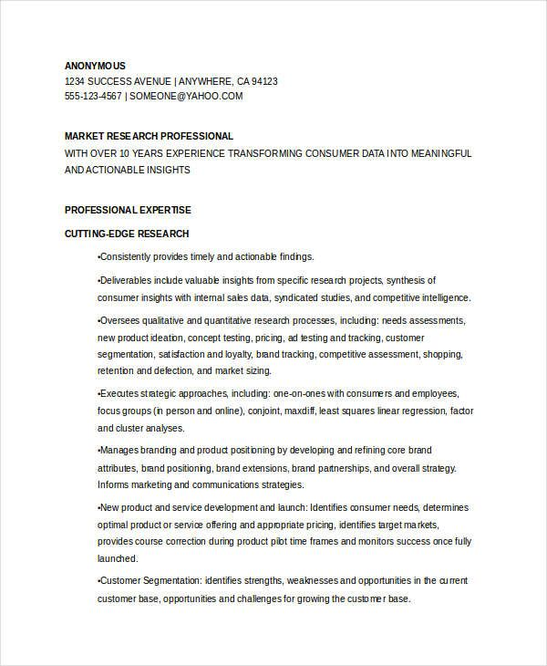 Marketing Research Manager Resume , Marketing Resume Samples for ...
