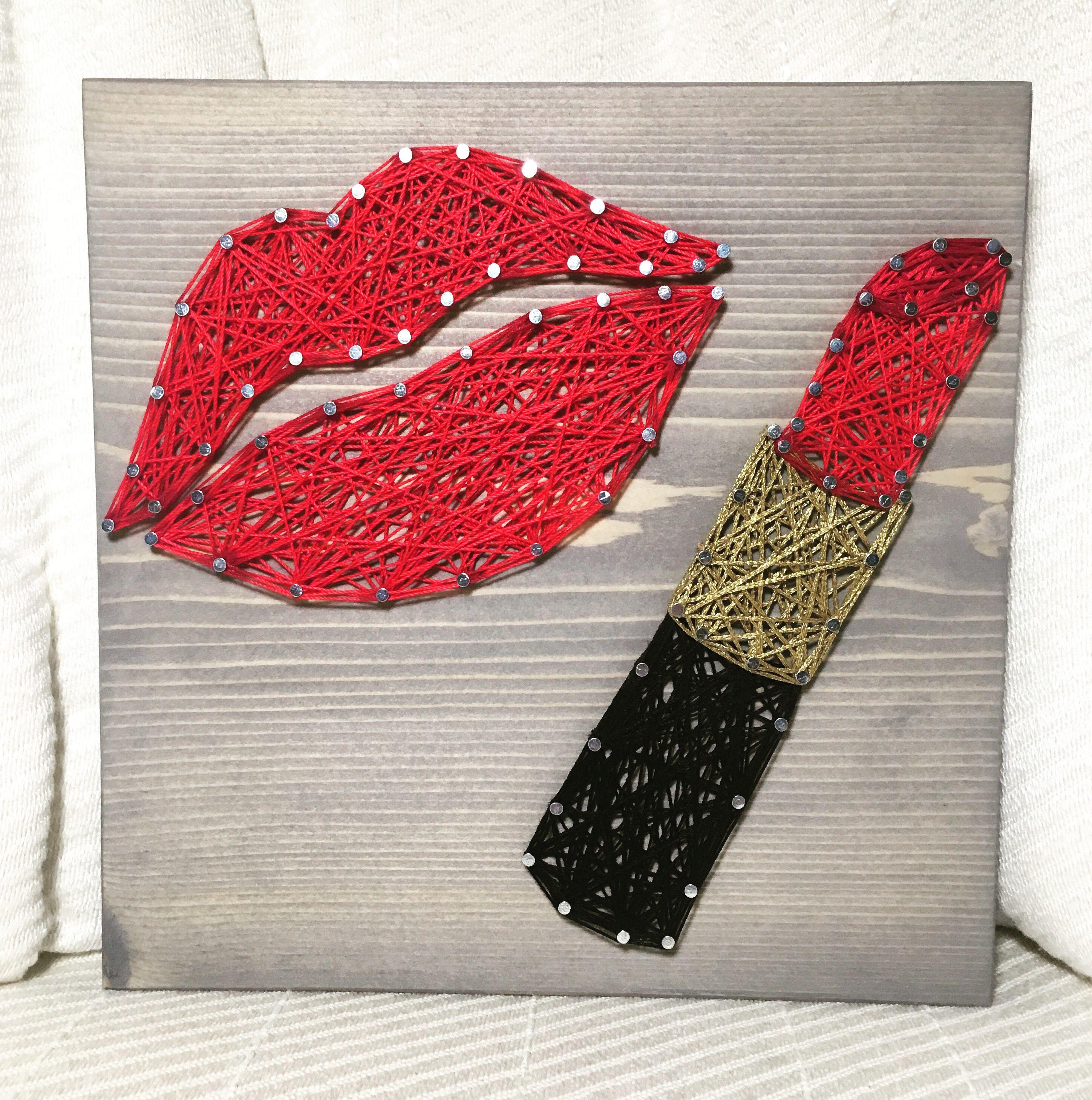 Lipstick Makeup Lips String Art, Makeup Artist- order from KiwiStrings on Etsy! www.kiwistrings.etsy.com