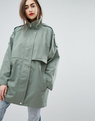 Soft green cacoon jacket.