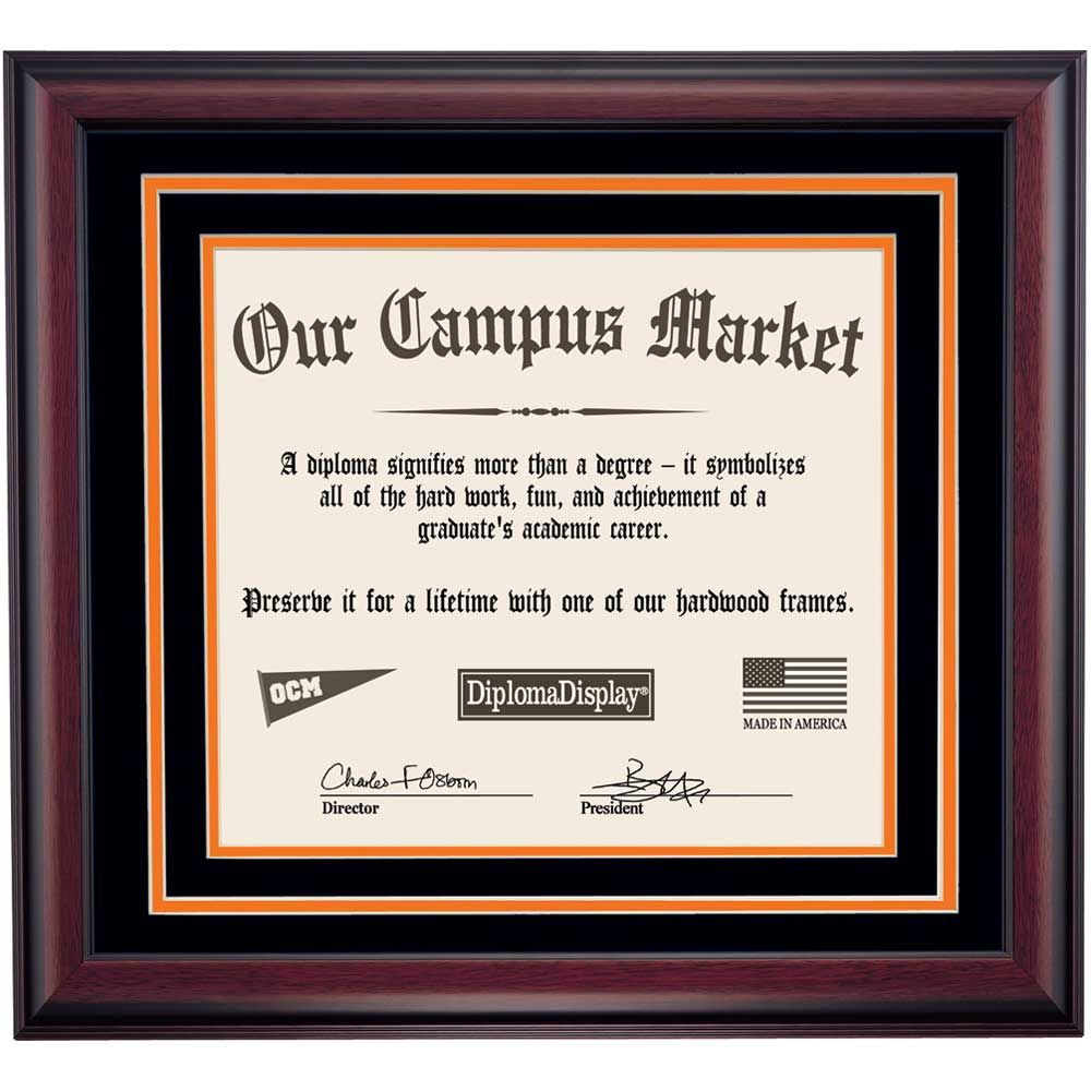 heritage frame with black and orange matting for 14x17 diploma