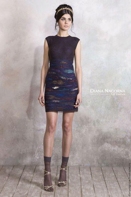 b1998152447 Купить или заказать Платье из мериносовой шерсти и шелка   Дикая Орхидея  в  интернет-магазине на Ярмарке Мастеров. Лаконичное по форме вечернее платье