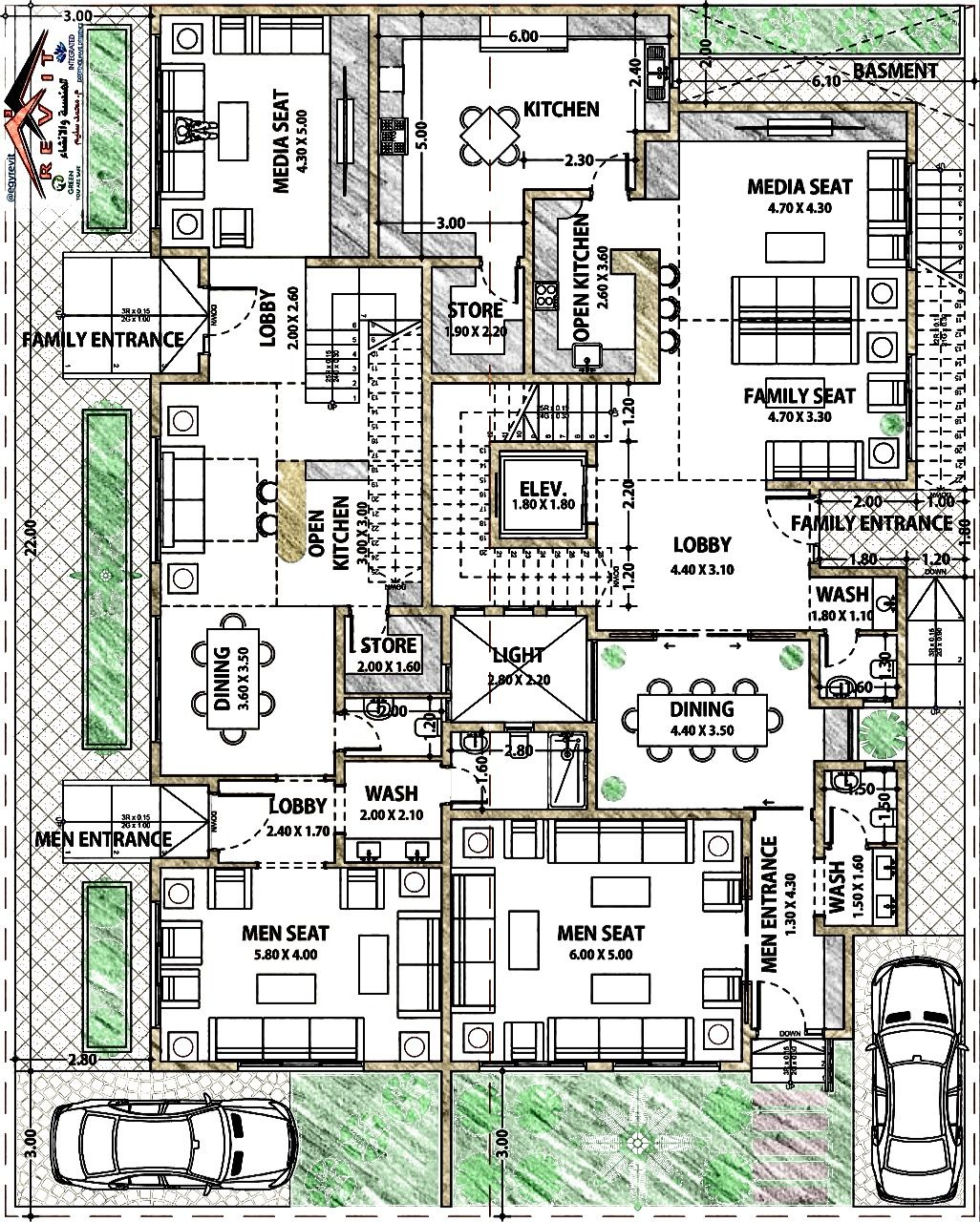 Arabia Villa مخطط فيلا للتواصل لعمل جميع التصاميم والديكور Twitter Egyrevit او الايميل Egyrevit Gmail Co Family House Plans 2bhk House Plan House Front Design