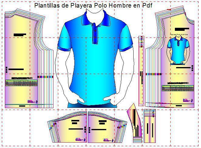 Plantillas digitales de Playera Polo Caballero 10 Tallas en formato pdf Son  10 tallas universales en las Plantillas de los moldes de playera tipo polo  de ... 2774f1167b296