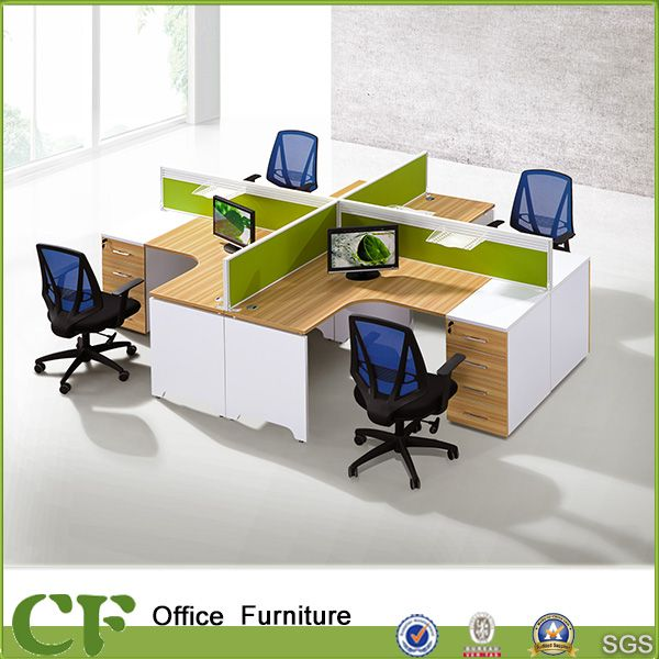 Modern Melamine Finished L Shape Office Workstation For 4 Person Modern Office Interiors Office Table Design Office Furniture Manufacturers