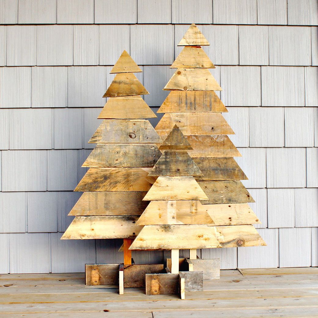Rustic wooden christmas trees tree