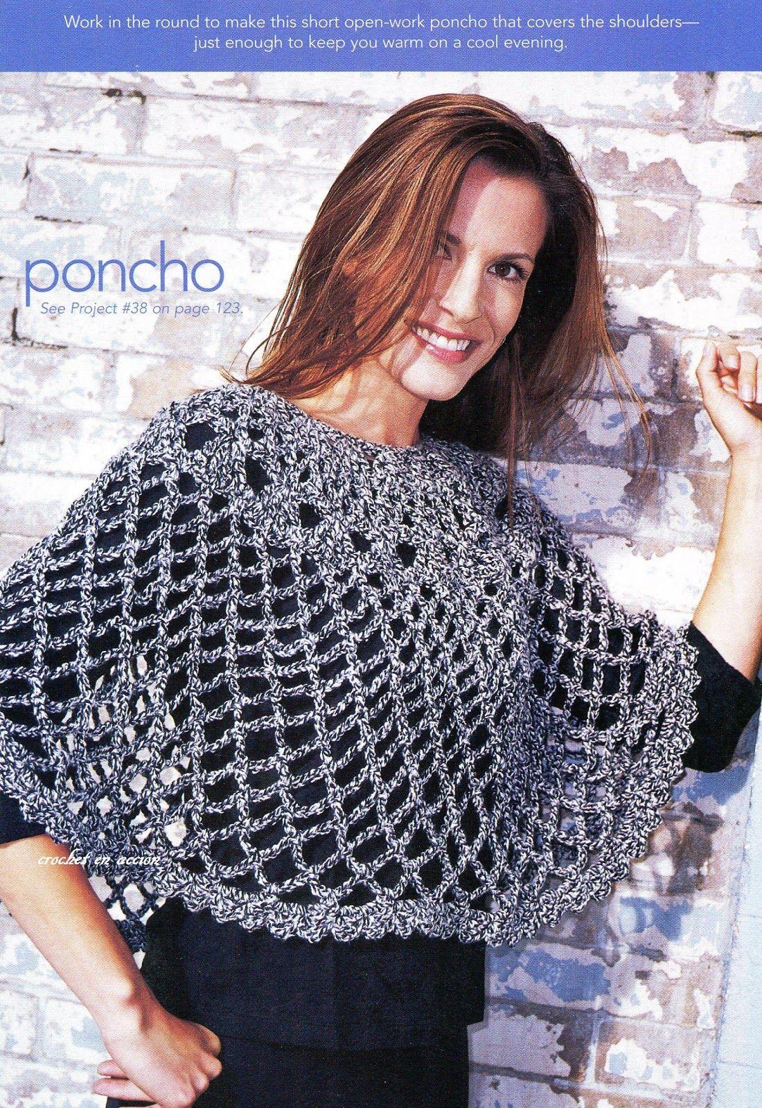 Crochet En Acción: Poncho en tejido abierto | capas | Pinterest ...