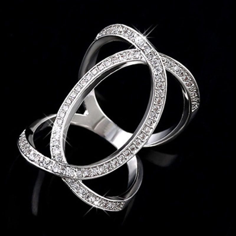 Mode Glanz Micro Set Zirkon Zarte Einfache Damen Ring Verlobungsring