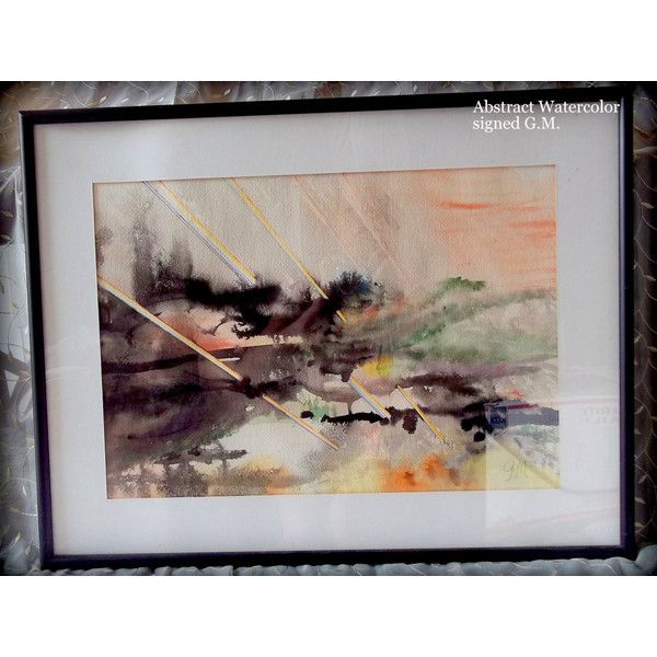 REDUCED Abstract watercolor painting signed G.M.20 x 26 painting ...