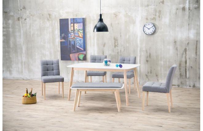 Table à manger design 150cm blanc et bois clair LEENA - Face | Déco ...