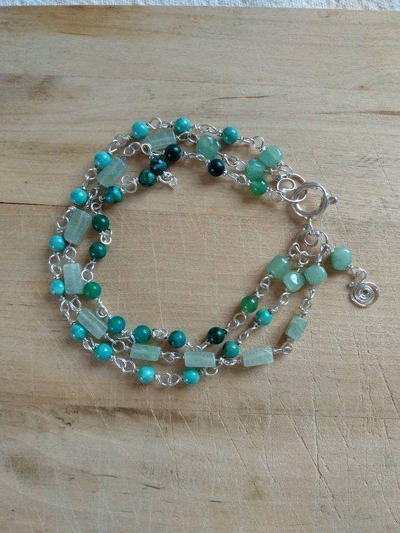 Green Gemstones Bracelet Sterling Silver Multi Strands