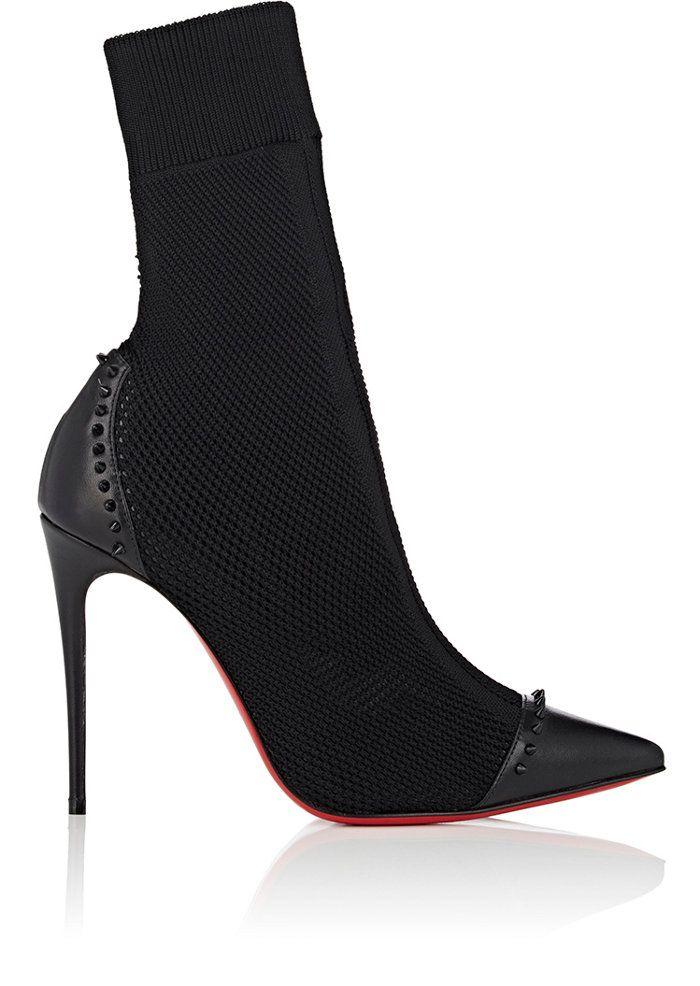550628c3a0cc ... czech christian louboutin dovi dova knit leather ankle boots barneys  new york 4faca 86fd0