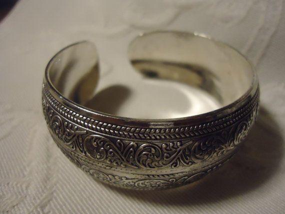 Loving Tibetan Silver Wide Bracelet by Lots4Less on Etsy, $5.00