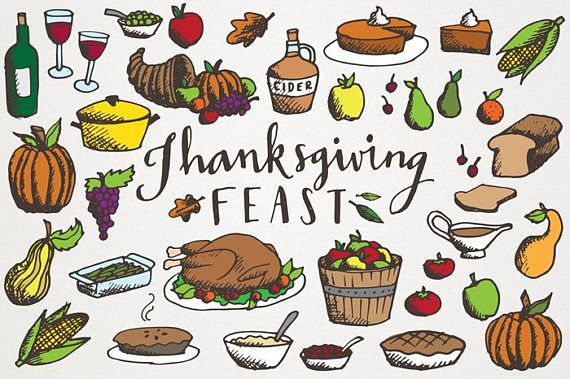 Thanksgiving Feast Clipart Hand Drawn Illustrations Commercial License Turkey Dinner Cornucopia Clipart Fall Seasonal Clipart Thanksgiving Drawings Thanksgiving Art Thanksgiving Feast