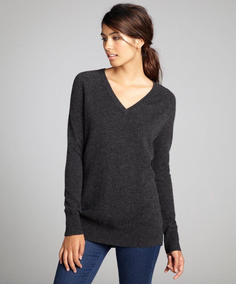 Hadley & James women's charcoal long sleeve v-neck cashmere ...