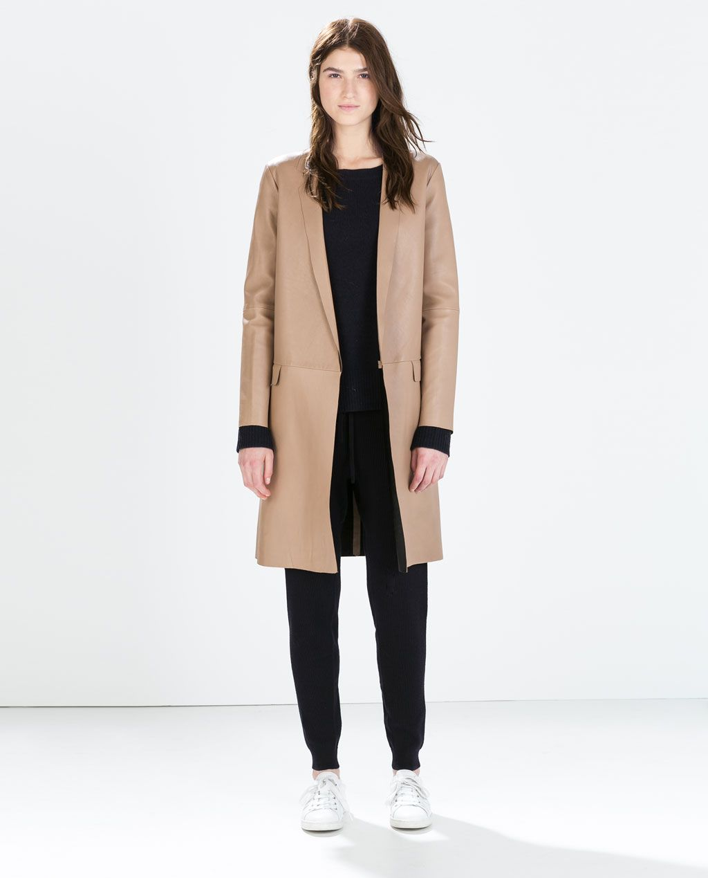 Blazers Zara España: Image 1 Of LAMBSKIN STUDIO COAT From Zara