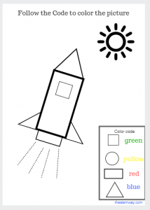 Worksheet Color With A Code Activity Follow The Code To Color The Picture Coloring Rocket Space Crafts For Kids Preschool Tracing Afterschool Activities