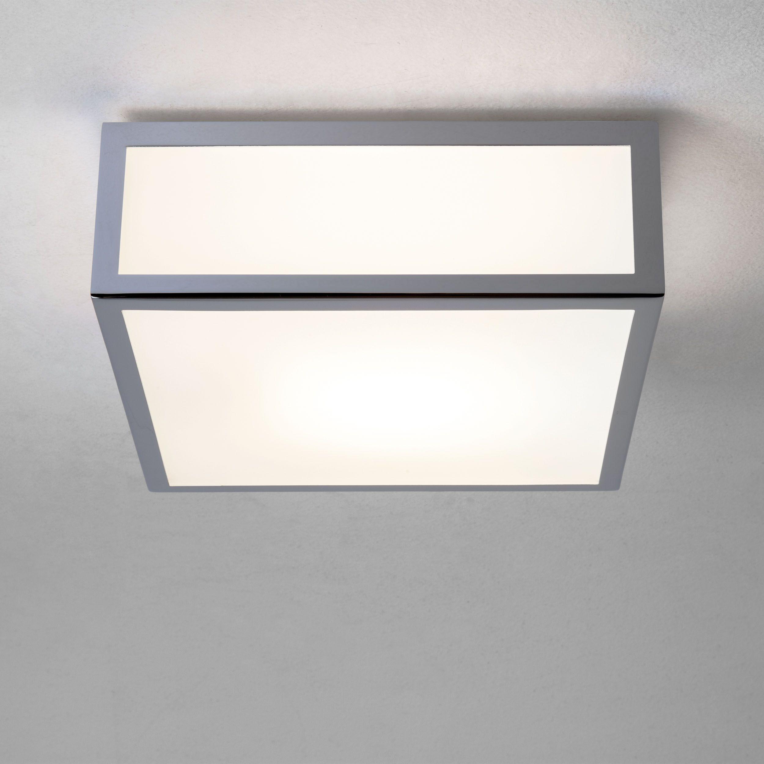 Mashiko bathroom ceiling light polished chrome finish white glass diffuser uses one