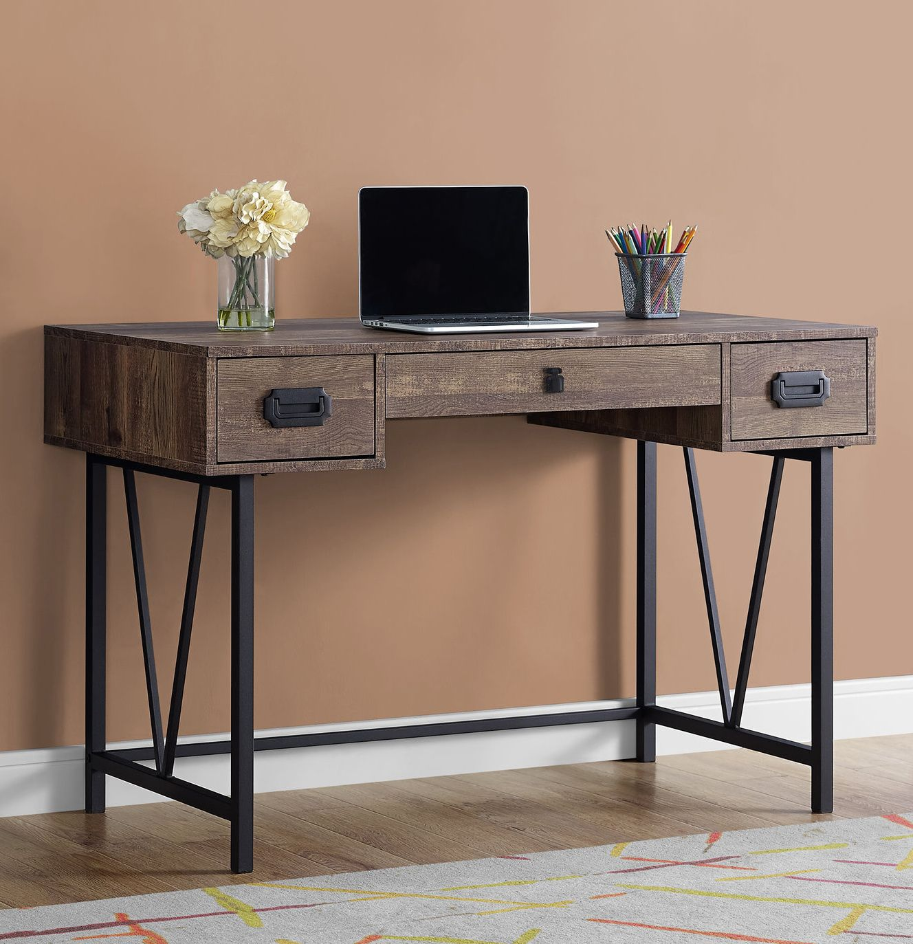 Farmhouse style for the home office rustic computer desk