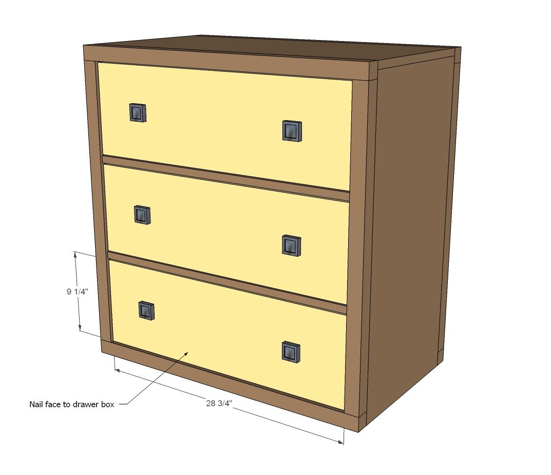 Easy Build Drawers ~ Ana white build a three drawer rolling dresser free