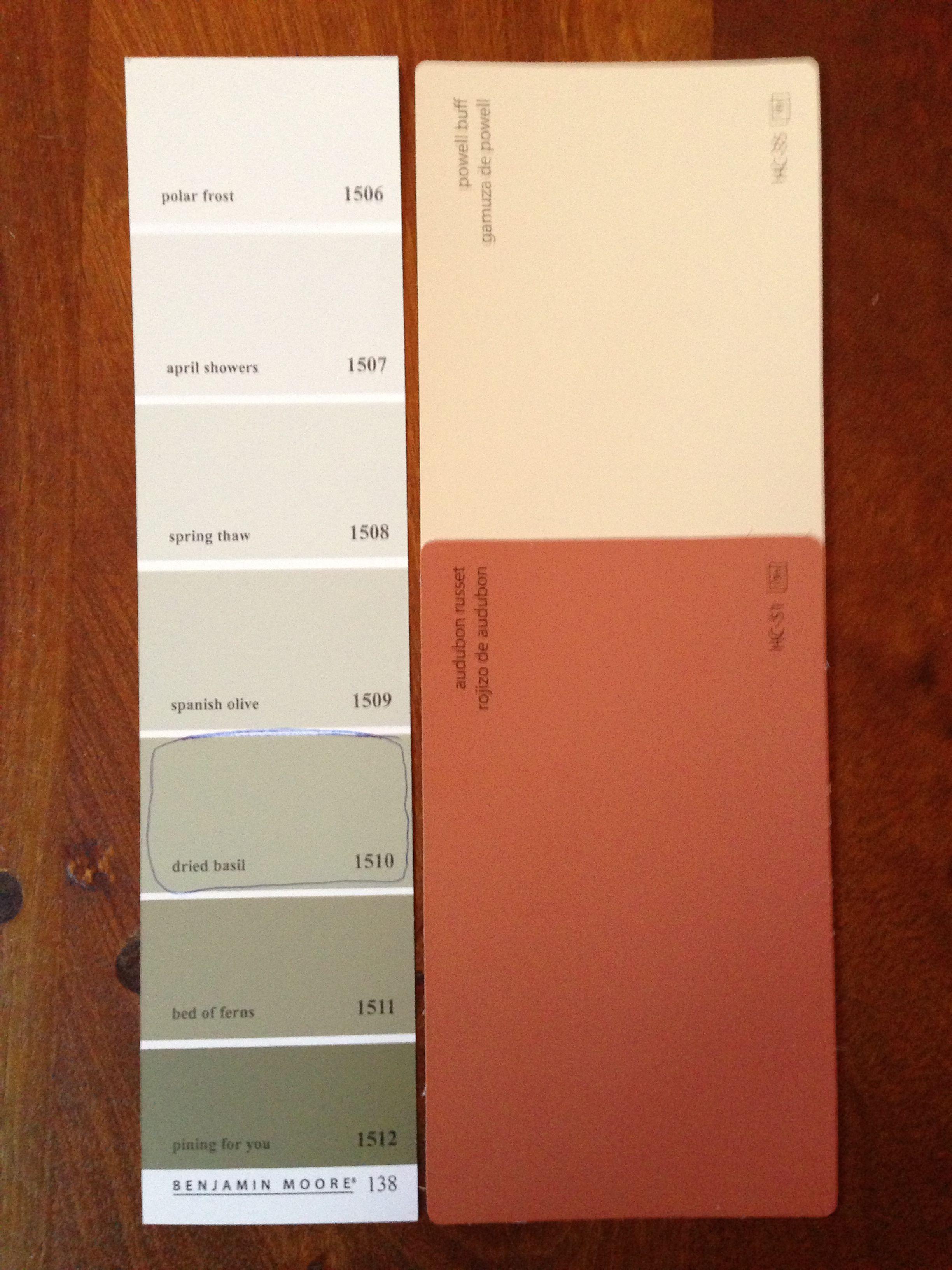 Basement paint colors Ben Moore s Powell Buff Audubon Russet and