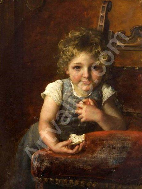 Young Girl With Buttered Bread And Apple