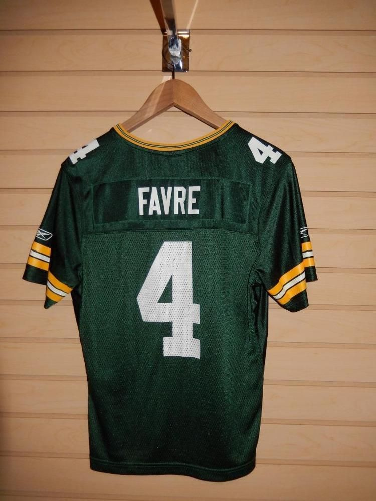 571ec8a1 VTG Youth Green Bay Packers Brett Favre #4 Football Jersey NFL Large ...
