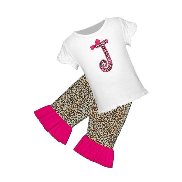 Applique Cheetah Initial Tee/Ruffled Hot Pink Short, Capri, or Pant Set