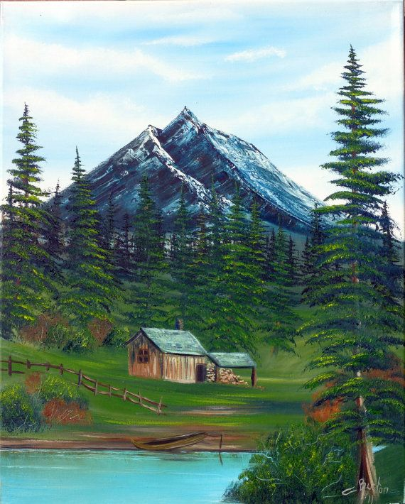 Mountain Scene And Cabin By Geminiartist1 On Etsy Oil On Canvas Apx 16x14 Mountain Scene Mountains Scene