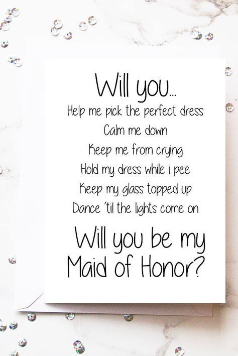 Will You Be My Maid Of Honor Card Head Bridesmaid Proposal E