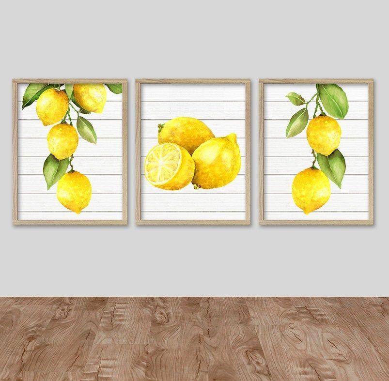 Watercolor Lemon Wall Art Kitchen Lemon Prints Or Canvas Etsy Lemon Artwork Lemon Kitchen Decor Lemon Kitchen