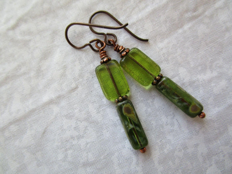 New Beautiful Green Czech Glass Earrings Rectangle & Tube Picasso ...