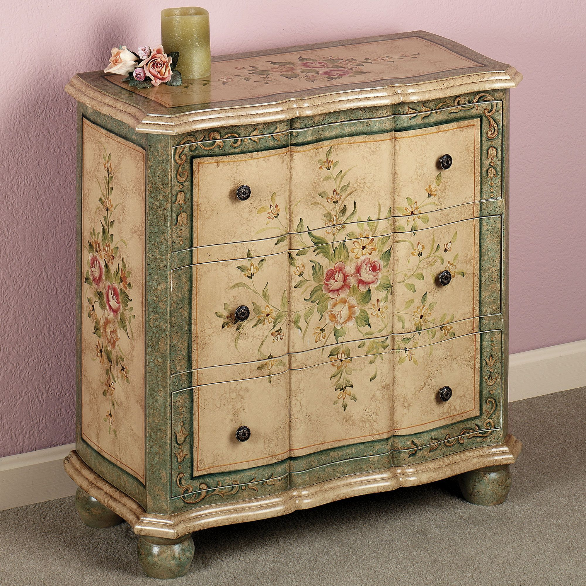 marissa floral storage chest storage paint furniture