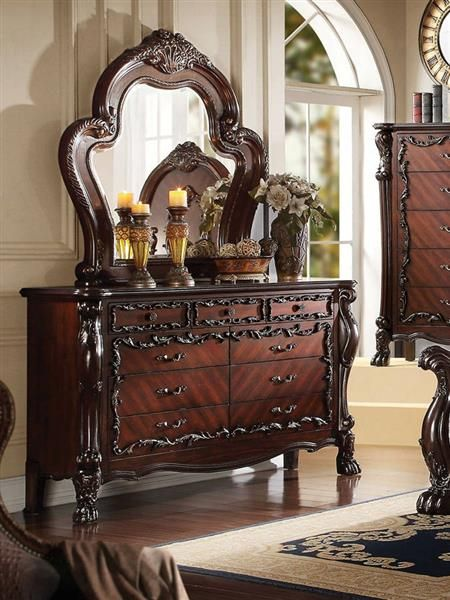 Westerland Classic Dark Cherry Wood Glass Dresser And Mirror