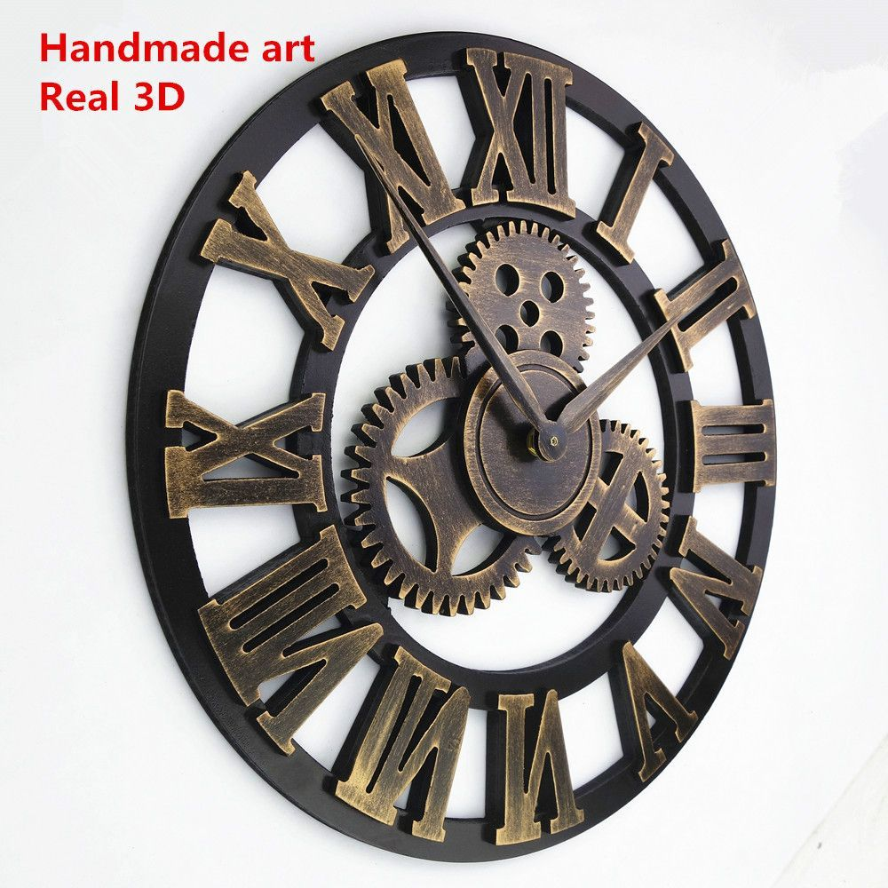 Handmade Oversize 3d Retro Rustic Decorative Luxury Art Big Gear Wooden Vi Decoração De Relógio De Parede Relógios De Parede Vintage Relógios De Parede Grandes