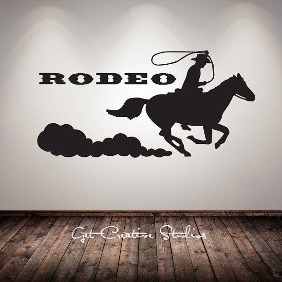 Cowboy Decal Rodeo Wall Sticker Western Calf Roping Horse ...