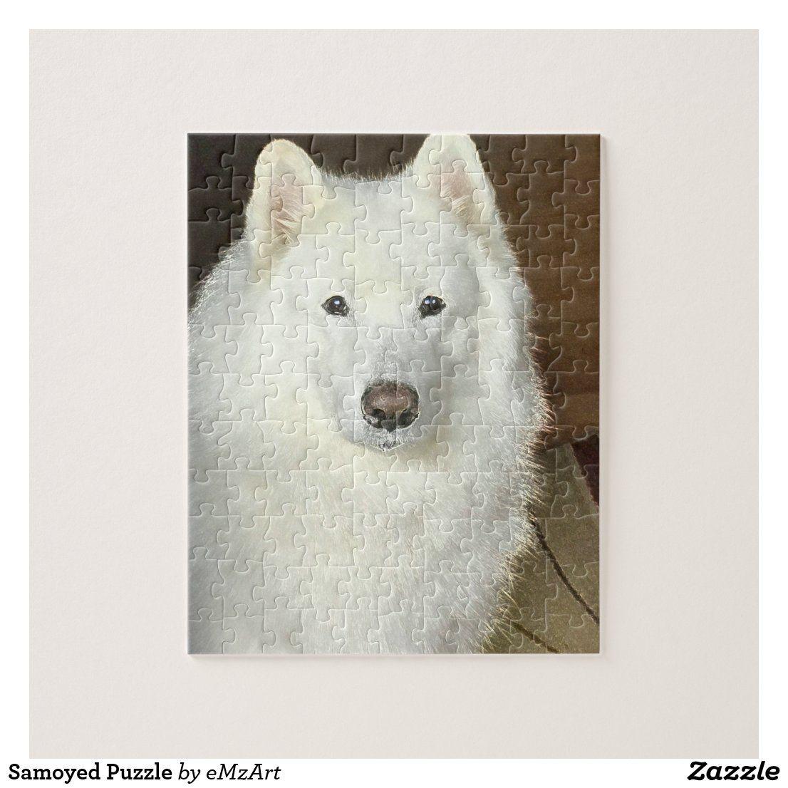 Samoyed Dog Art Portrait Print Puzzle with Photo Tin